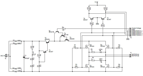Schematic diagram for the high power DAC amplifier