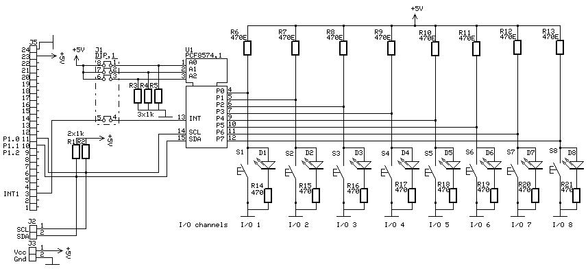 ic expansion board for microcontrollers, schematic