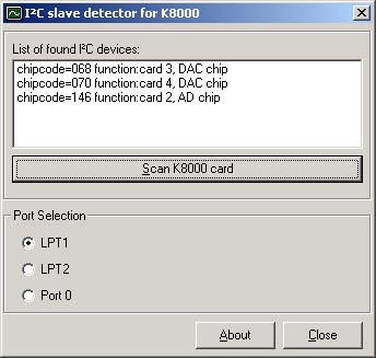 Screenshot of the I²C bus scanner