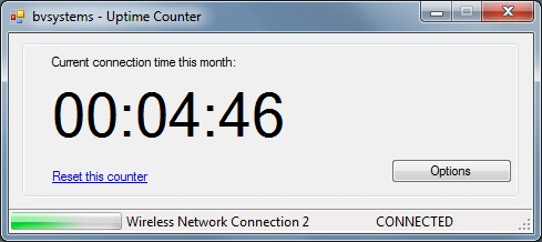 Screenshot of uptime counter